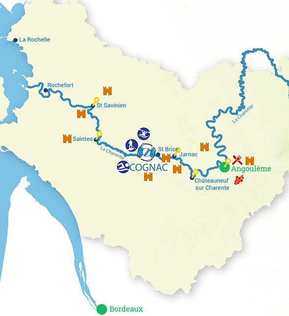 Routes of River cruise in Charente